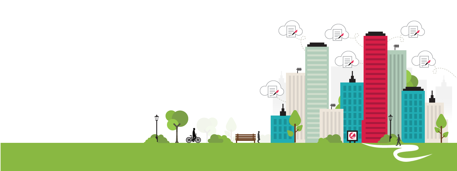 Image of drawn cityscape with legalesign logo, icon-style clouds and cyclist