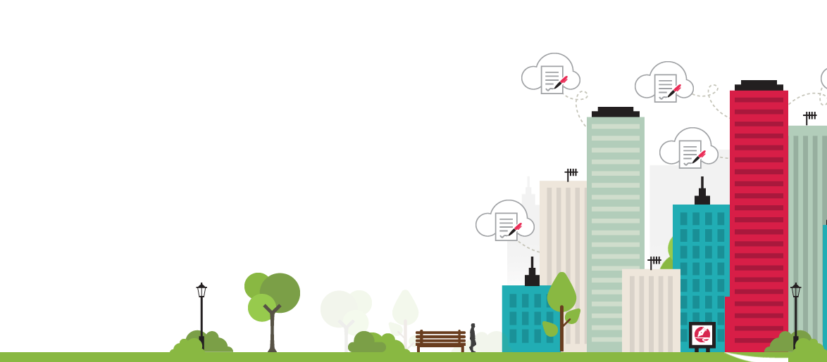 Image of drawn cityscape used for legalesign banners, sized for tablet
